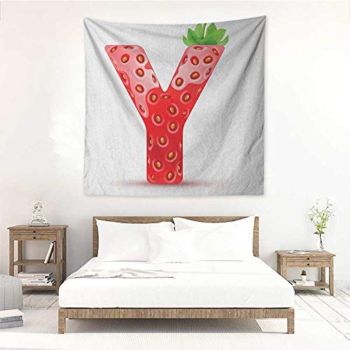 Letter Y Wall Tapestry for Bedroom Gardening Fruit with Capital Letter Vibrant Colored Pattern ABC Print Wall Hanging Carpet Throw 55W x 55L INCH Vermilion Green Orange ()
