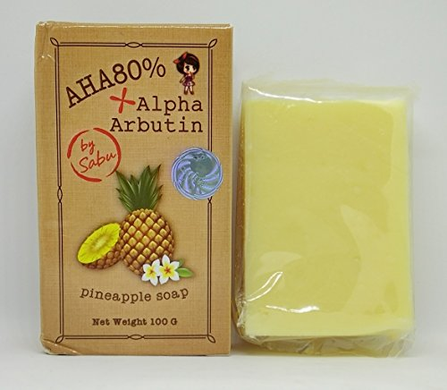 Alpha Arbutin + AHA 80% Pineapple Soap, Skin Whitening Lightening Bleaching 100g.