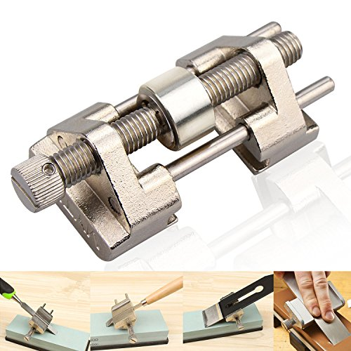 Honing Guide, BonyTek Stainless Steel Side Clamping Fixed Angle Honing Guide with Roller for Wood Chisel, Planer, Blade, Flat Chisel Edge Sharpening, Clamping Width 0.32-3.22''(Stainless Steel (Edge Jig)
