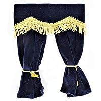 Melody Jane Dollhouse Blue Velvet Curtains Gold Fringe Window Accessory