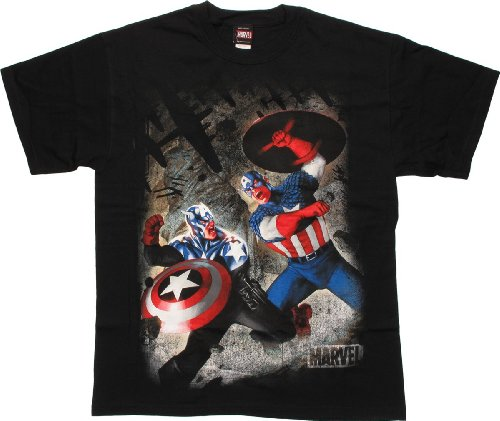 Captain America Battle Royal Black T-Shirt Mad Engine