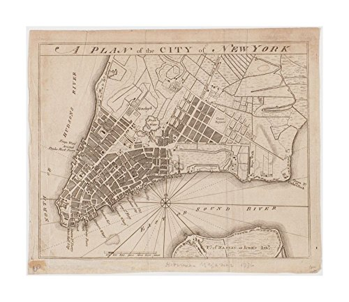 Hibernian Magazine (1776 Map: southern part of island of Manhattan, New York.The American Antiquarian Society copy annotated in pencil: Hibernian magazine 1776|Ready to Frame|Historic Antique Vintage Reprint|)