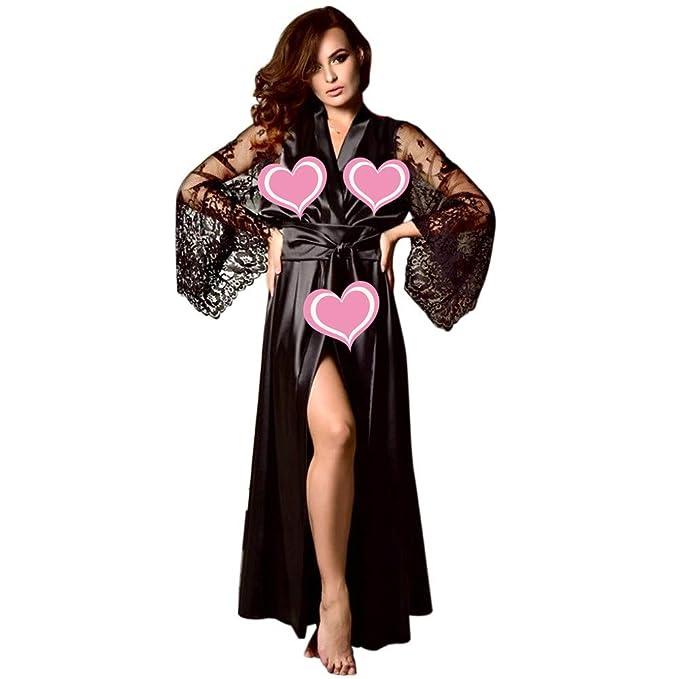 38cd603330 Women Lingerie Satin Sleepwear Long Sleeve Nightdress Bandage Sexy Robe (S