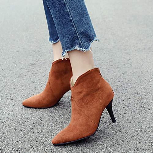 Boots Bout Femme Effet Vintage Chaussures Bottines Talon Daim Camel Fourrées Aiguille Hiver Pointu Oaleen 0tvwxZx