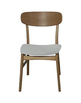 Set de dos sillas cómodas de comedor tapizadas con textil: Amazon.es ...