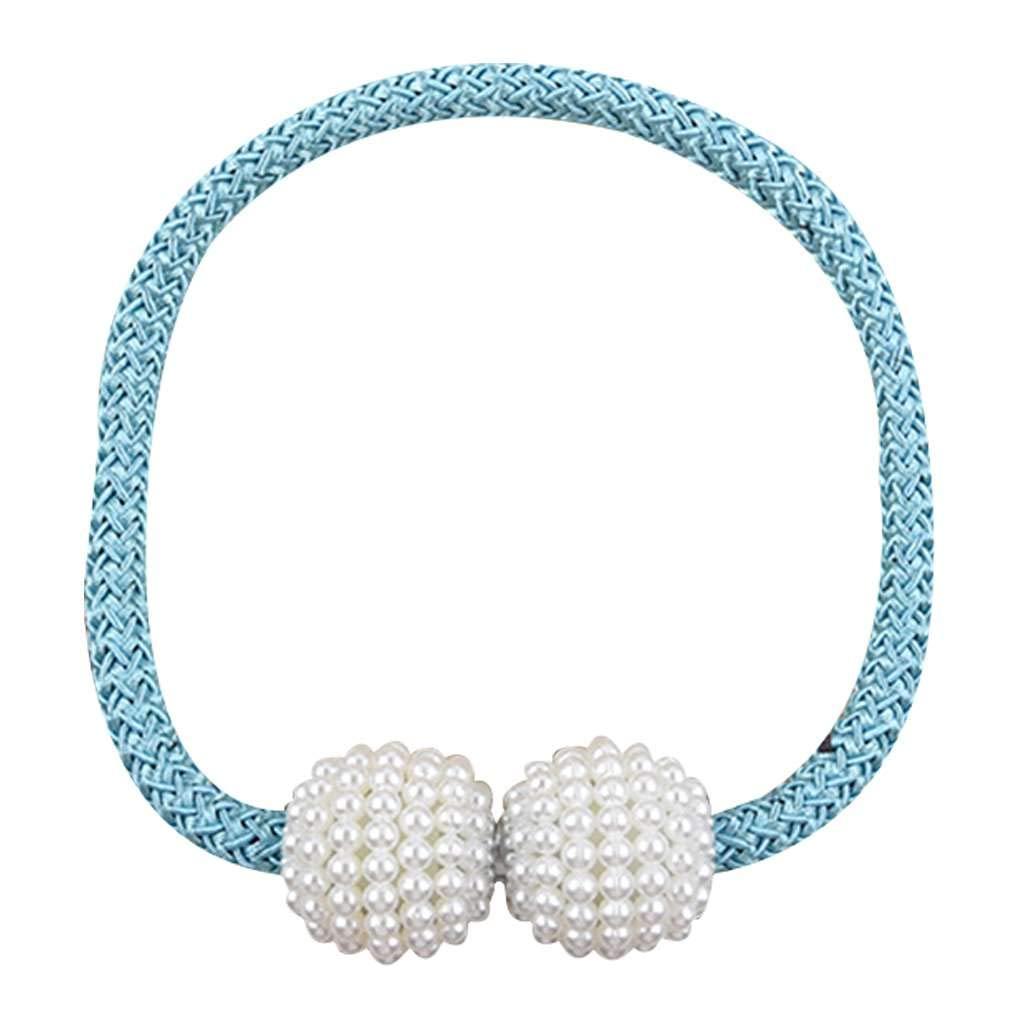 shangjunol 1 Pair Pearl Beads Round Curtains Tieback Magnet Buckle Strap Magnetic Curtain Holder
