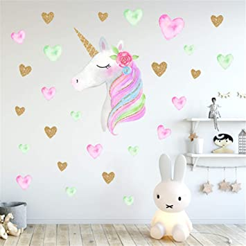 Amazon Com Ccut Cute Unicorn Bling Heart Wall Decals Removal Pvc