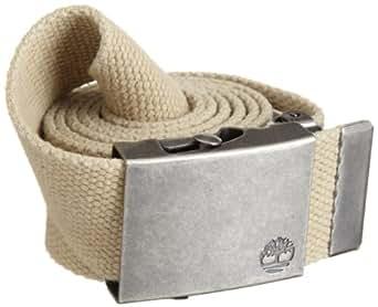 Timberland Men's Web Plaque Buckle Belt, Tan, 42