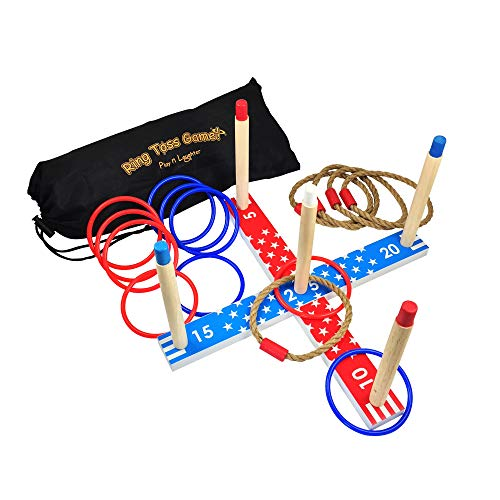 Play N Laughter Wooden Ring Toss Game Set - Fun Quoits Game for Children and Adults with Carrying Bag, Indoor & -