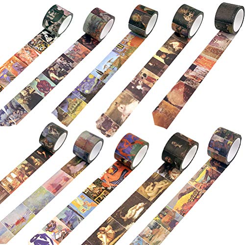 Valentine's Day Gifts SUBCLUSTER 10 Rolls World Famous Painting Design Washi Tape Set - Oil Painting Canvases Patterns Masking Tape for Art Crafty Decorative, DIY Crafts,Gift Wrapping,Party