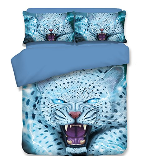 (Dodou 3D snow leopard printing Bedding Sets Soft and comfortable Bed Linens Bedding 100% polyester Duvet Cover Sets 3pcs (Twin))