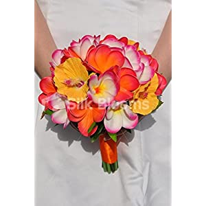 Artificial Fresh Touch Frangipani and Hibiscus Flower Wedding Bouquet