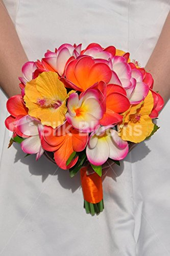 Artificial-Fresh-Touch-Frangipani-and-Hibiscus-Flower-Wedding-Bouquet
