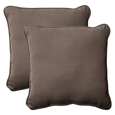 Pillow Perfect Indoor/Outdoor Forsyth Corded Throw Pillow, 18.5-Inch, Taupe, Set of 2