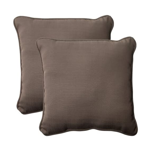 Pillow Perfect Outdoor Forsyth Corded Throw Pillow, 18.5-Inch, Taupe, Set of 2 - Includes two (2) outdoor pillows, resists weather and fading in sunlight; Suitable for indoor and outdoor use Plush Fill - 100-percent polyester fiber filling Edges of outdoor pillows are trimmed with matching fabric and cord to sit perfectly on your outdoor patio furniture - living-room-soft-furnishings, living-room, decorative-pillows - 51 6MJYcd5L. SS570  -