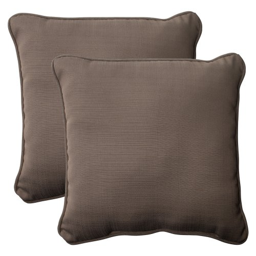 Pillow Perfect Outdoor Forsyth Corded Throw Pillow, 18.5-Inch, Taupe, Set of 2