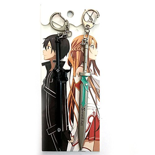 Anime-Sword-Art-Online-Kirito-Asuna-Weapon-2PCS-Keychain
