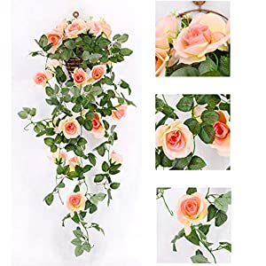 Jeeke Artificial Rose Flowers Wedding Arches for Ceremony Wisteria Garland Wisteria Vine (Orange, 1 Pcs) 59