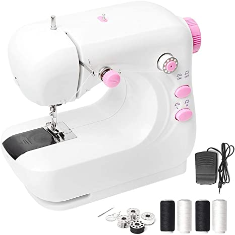 Portable Household and Lightweight Sewing Machine for Beginner Pink Sewing Made Easy with Double Thread and Free Arm Adjustable 2-Speed with Foot Pedal for Kids Mini Electric Sewing Machine