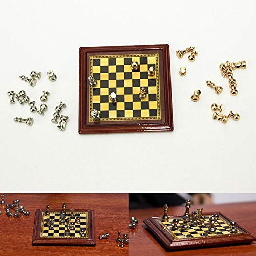 Tcplyn Lovely Miniature Metal International Chess Set Model Toy Dollhouse Accessories Durable and Useful
