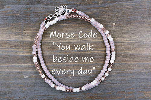 You Walk Beside me every day Morse Code Bracelet Memorial Jewelry
