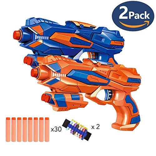 - Fstop Labs 2 Pack Like Blaster Toy Gun with 2 Foam Dart Wrist Band and 30 PCS Refill Soft Foam EVA Darts for Kids Hand Gun Blaster Gun Toy