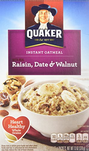 Quaker Instant Oatmeal Raisin, Date & Walnut, 10-count Boxes (Pack of 2) Quaker Raisins