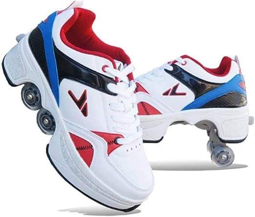 QIANG Zapatos De Skate De Deformación para Mujeres Hombres Niños Zapatos De Ruedas para Niños Zapatillas De Deporte con Ruedas para Regalo De Principiantes Unisex,41: Amazon.es: Jardín