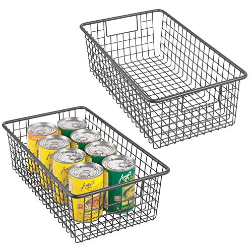 mDesign Modern Farmhouse Metal Wire Storage Organizer Bin Basket with Handles for Kitchen Cabinets, Pantry, Closets, Bedrooms, Bathrooms - 16.25 Long, 2 Pack - Graphite Gray