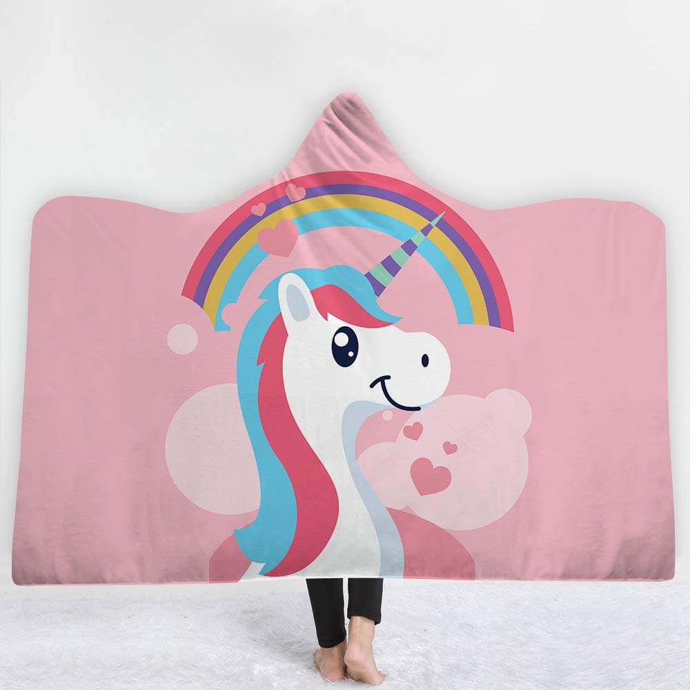 Creative 3D printed Graffiti Unicorn Cartoon Pony Wearable Hooded Blanket, luxury thick Sherpa wool blanket, super soft warm, winter TV blanket, throwing adult and children blanket (G04, (Suitable for adults 60 '× 80')) zhejingyiwu