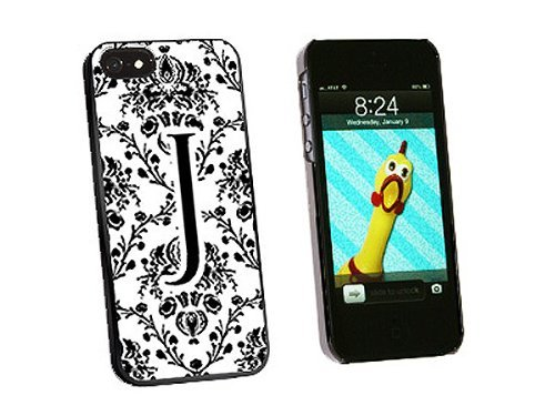 Graphics and More Letter J Initial Damask Elegant Black White Snap-On Hard Protective Case for iPhone 5/5s - Non-Retail Packaging - Black