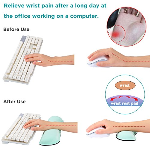 Gimars Superfine Fiber Widen Memory Foam Set Nonslip Mouse Pad Wrist Support & Keyboard Wrist Rest Support for Office, Computer, Laptop & Mac & Comfortable & Lightweight for Easy Typing & Pain Relief by Gimars (Image #2)'