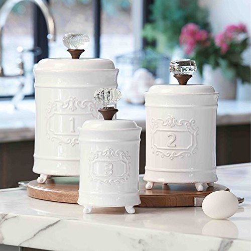 Check out Amazon's price for these Mud Pie White Porcelain Canisters to add to your coffee bar