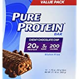 Pure Protein-High Protein Bar Chewy Chocolate Chip Multipack-Protein Bars-20 Grams of Protein per Bar-Gluten Free-12-1.76-Ounce Bars