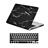 """Unik Case-2 in 1 13 Inch Marble Rubberized Hard Case & Silicone Skin for Macbook Pro 13"""" with DVD Drive A1278 Shell Cover-Black"""
