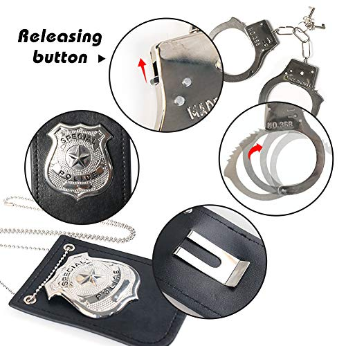 3 otters Police Pretend Play Toy Set, 6PCS Kids Police Accessories Metal Handcuffs Cop Accessories for Kids Easter Basket Stuffers Gifts Party Favors
