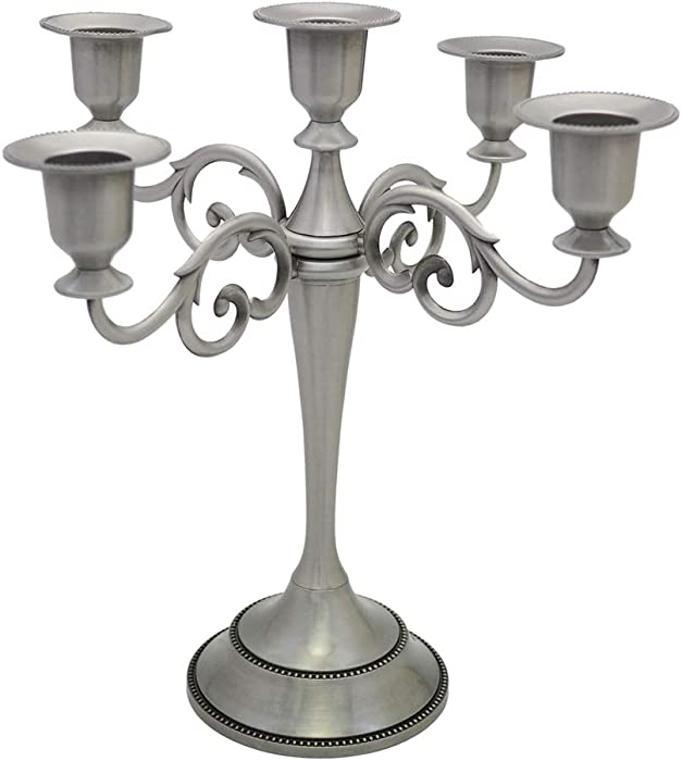 Viscacha 5-Candle Metal Candelabra – Candlesticks Holder for Formal Events, Wedding, Church, Holiday Décor, Halloween – Taper Candle Holder Stand Centerpiece Elegant Decoration Piece for Table,Pewter