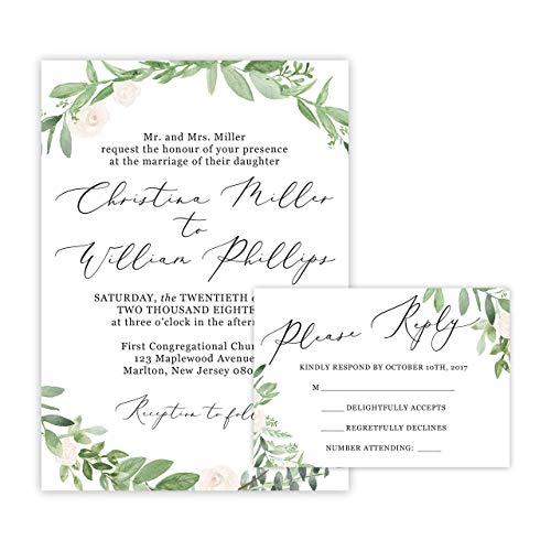 Include Envelopes - Greenery Wedding Invitations and Self Mailing RSVP Cards - Includes Envelopes for Set - Greenery Wedding Invitations