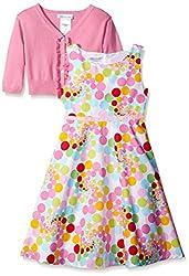 Little Girls Pink/Multi Bubble Dot Fit Flare Dress/Jacket Set, Bonnie Jean, PINK, 6X