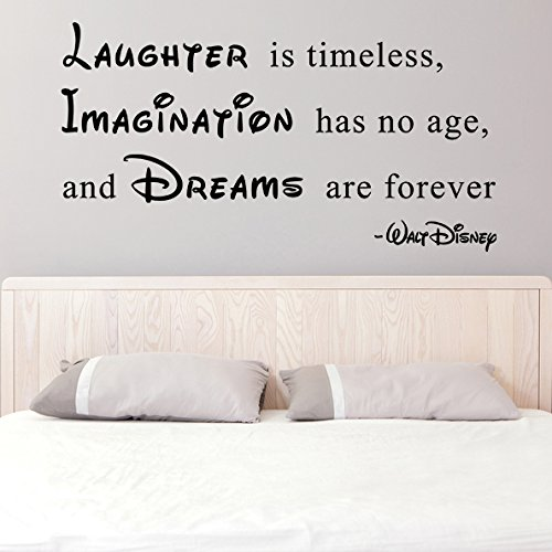 (39'' x 21'') Vinyl Wall Decal Quote Laughter is Timeless, Imagination has no Age, Dreams are Forever / Walt Disney Sayings Sticker + Free Decal Gift! by Slaf Ltd.