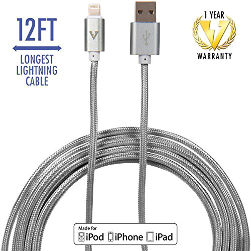 Long iPhone Charger by vCharged - Longest Gray Lightning Cable Nylon Braided USB Charging Cable Cord for iPhone & iPad w/Warranty