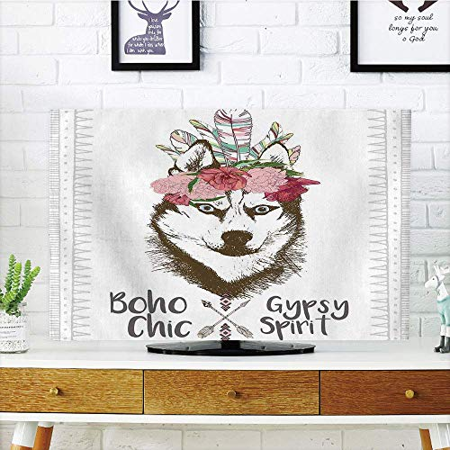 (LCD TV dust Cover Customizable,Feather House Decor,Aztec Floral Head Portrait of Siberian Husky Dog Tribal Arrow Kitsch Image,Multi,Customization Compatible 70