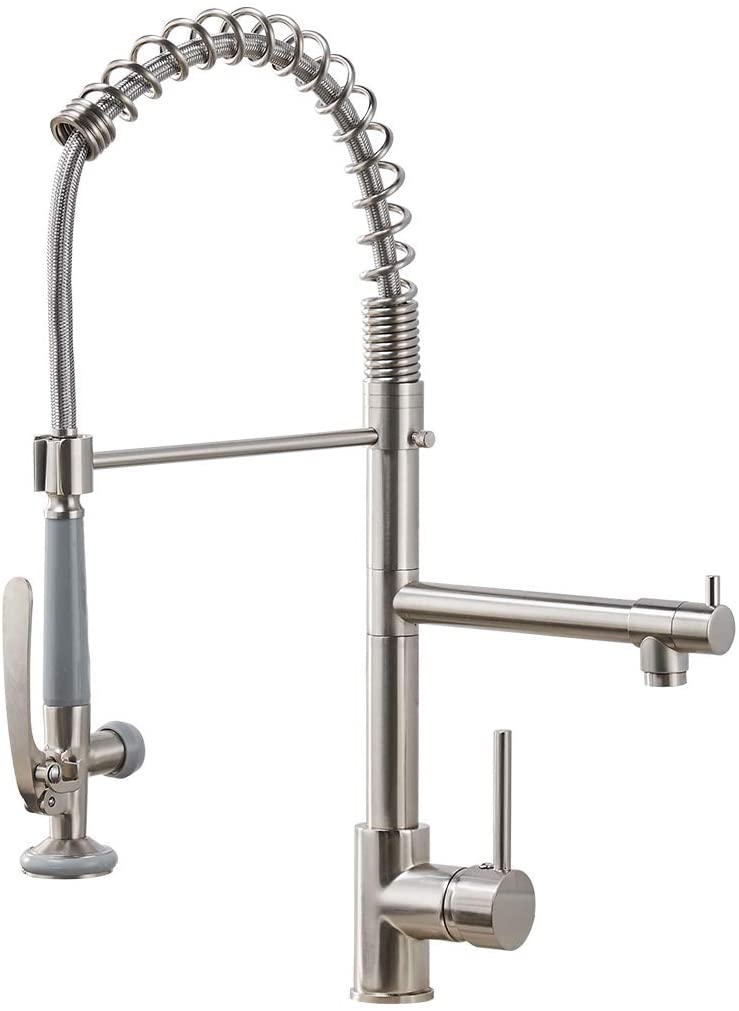 Fapully Commercial Pull Down Kitchen Sink Faucet With Sprayer Brushed Nickel Amazon Com