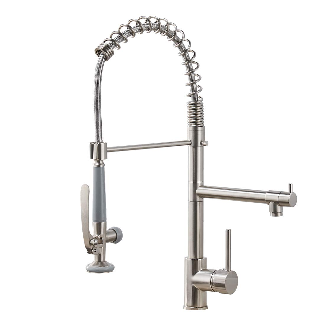 Fapully Commercial Pull Down Kitchen Sink Faucet with Sprayer Brushed Nickel by FAPULLY