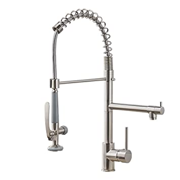 Fapully Commercial Pull Down Kitchen Sink Faucet With Sprayer