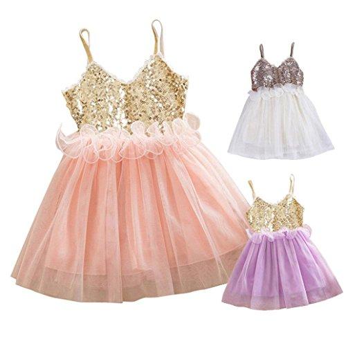 FEITONG Kids Girls Princess Sequins Tulle Lace Tutu Slip Dress