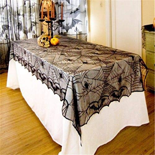MEIZOKEN 122 x 244 cm Halloween Black Lace Gothic Spiderweb Tablecover Cobwed Halloween Party Tablecloth Bat Spider Home DIY Decoration ()