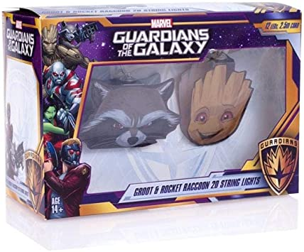 GUARDIANS OF THE GALAXY GROOT AND ROCKET 2D STRING LIGHTS PARTY LIGHT LICENSED