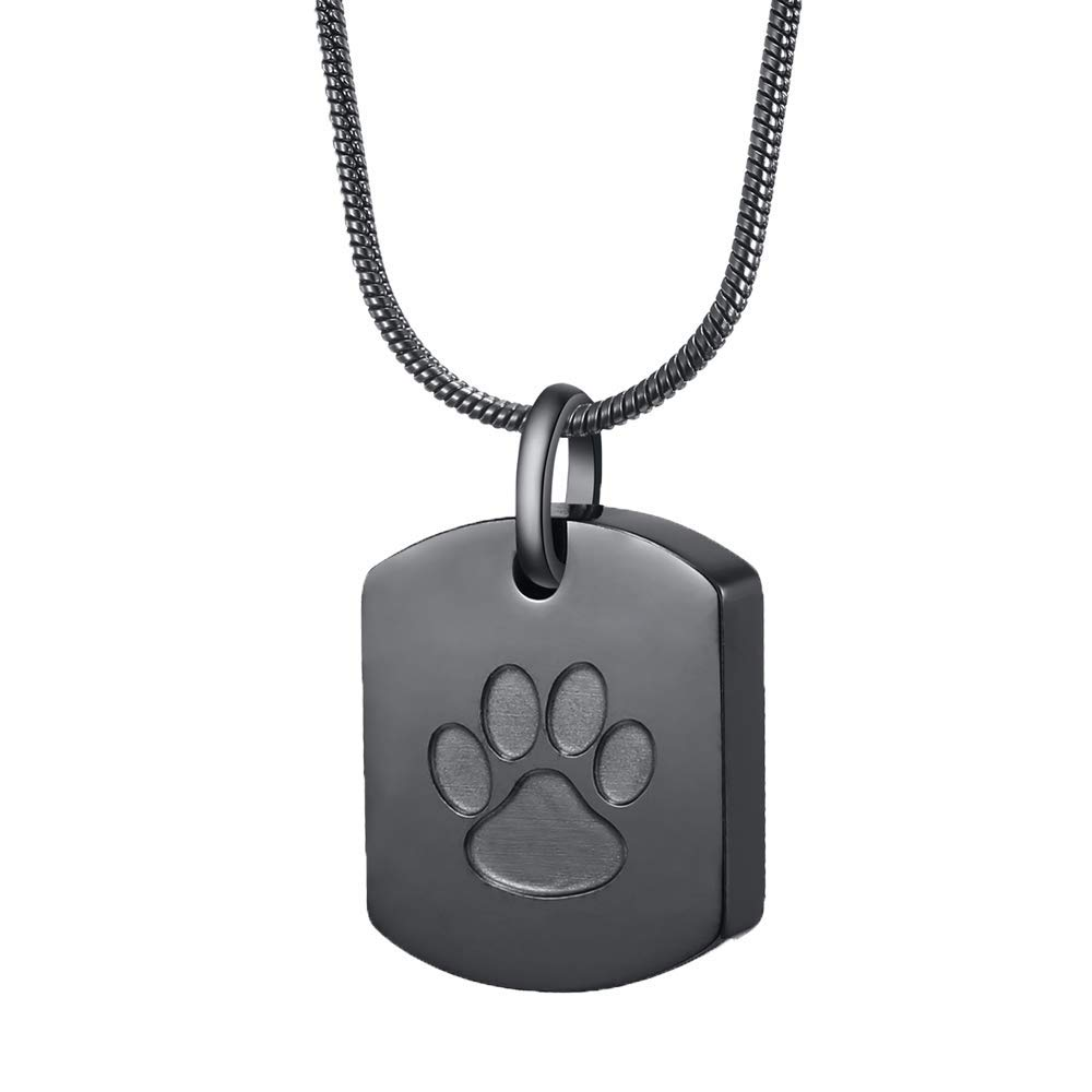 Pet paw Carved Square Urn Jewelry Memorial Ashes Holder Keepsake Cremation Necklace Jewelry Pet's Ashes