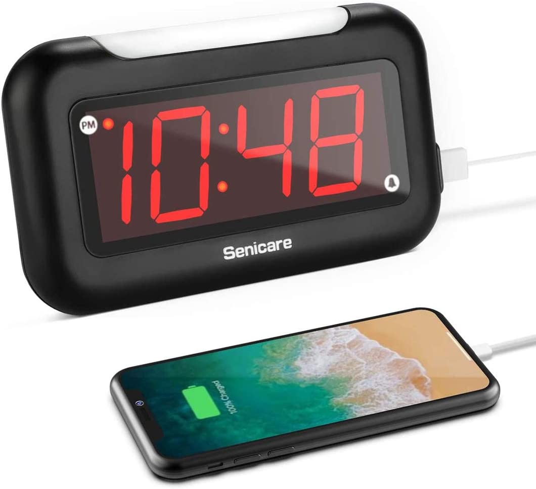 Home LED Digital Alarm Clock with Nightlight, USB Charging Port , Full Range Brightness Dimmer, Easy to Set, Snooze, Outlet Powered Portable Clock for Bedrooms, Bedside, Desk Decor- Battery Backup